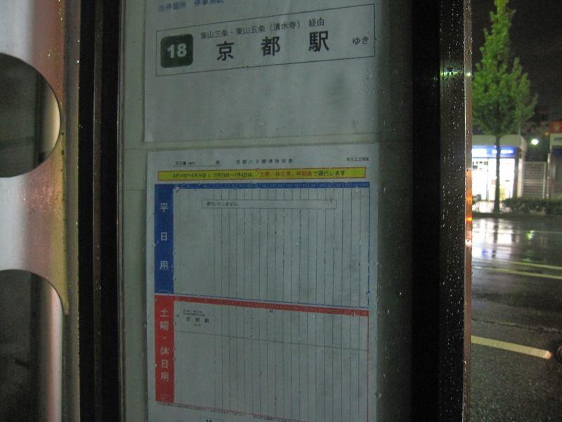 京大正門前のバス停